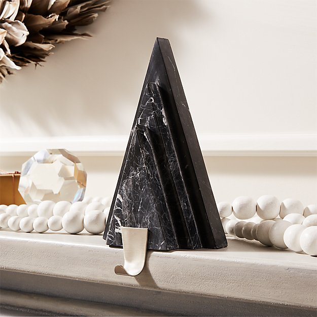 Black Marble with Nickel Hook Tree Stocking Holder - Image 1 of 5