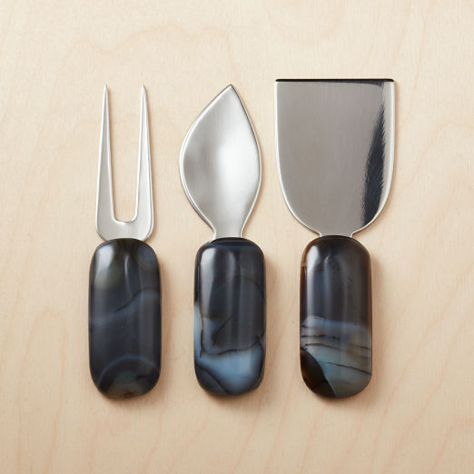 Black Agate Cheese Knives Set of 3
