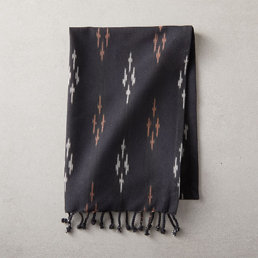 Black Ikat Tea Towel