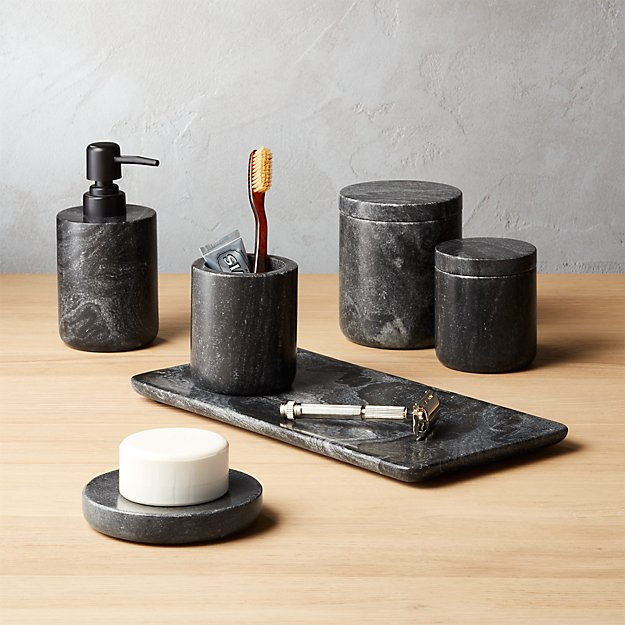 grey marble bathroom accessories.  Black Marble Bath Accessories CB2