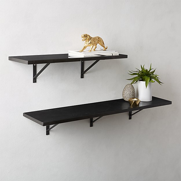 Black Marble Wall Mounted Shelves - Image 1 of 11