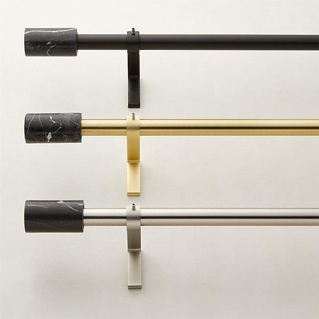 "Black Marble Finial Curtain Rod Set  .75"" Diameter - Image 1 of 4"