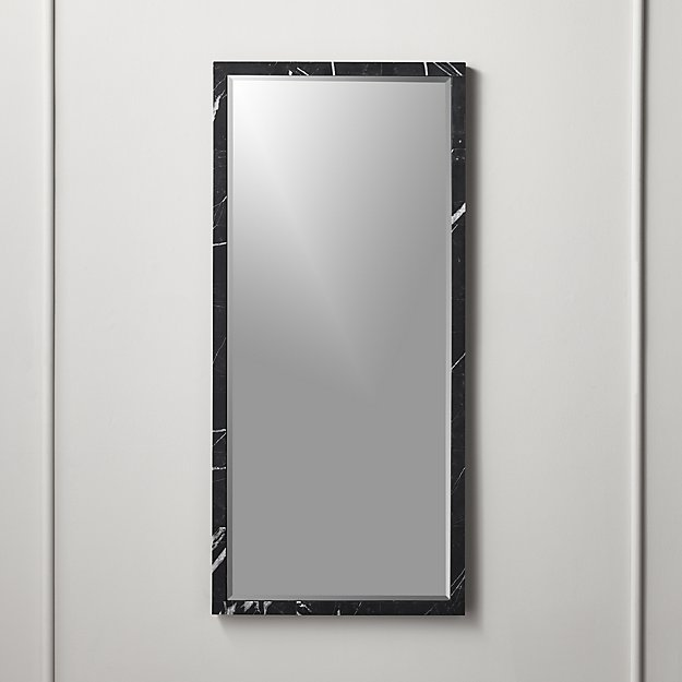 Black Marble Mirror Rectangle - Image 1 of 4