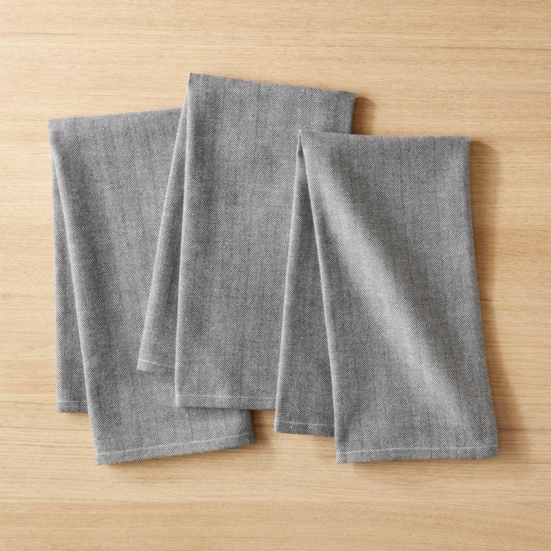 Black And White Herringbone Dish Towel Set Of 3