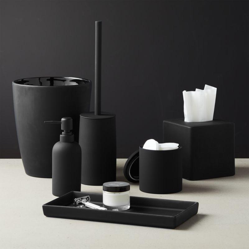 Rubber Coated Black Bath Accessories Cb2, Black Bathroom Accessory Set