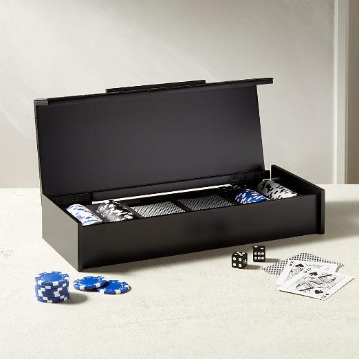 Black Shagreen Poker Set