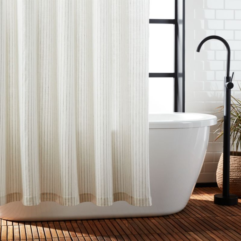 Black And White Stripe Linen Shower Curtain Reviews Cb2