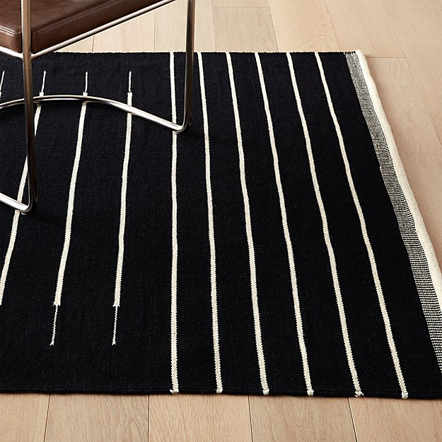 Black with White Stripe Rug - Image 1 of 11