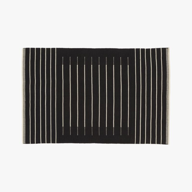Black With White Stripe Rug