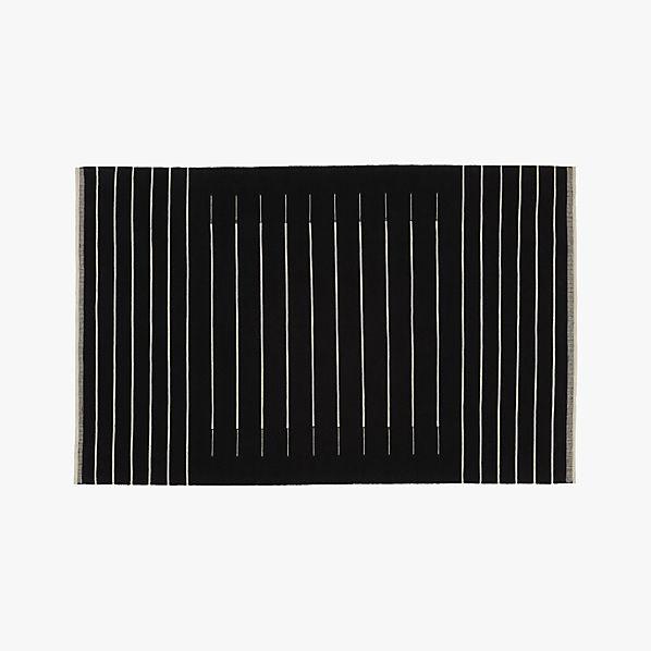 Black With White Stripe Rug Cb2