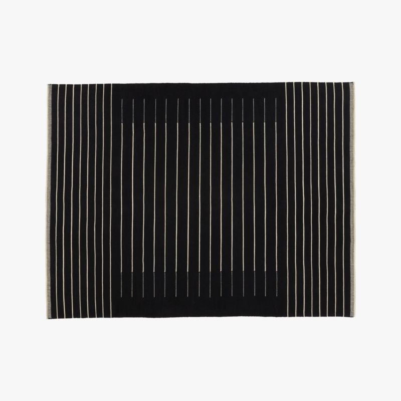 Black With White Stripe Rug 9'x12' by Crate&Barrel