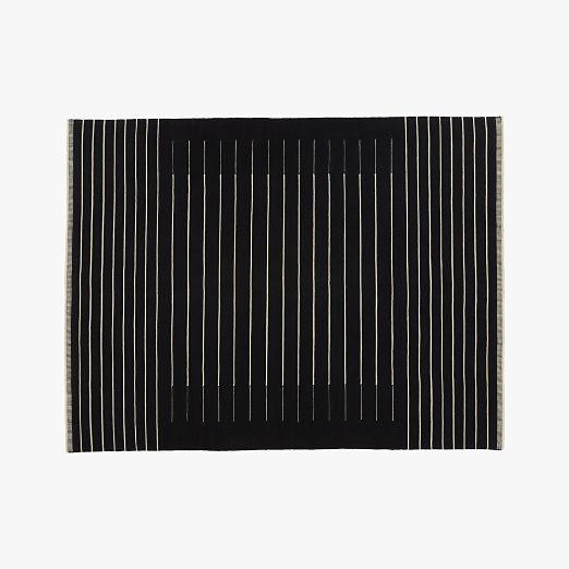 Black With White Stripe Rug ...