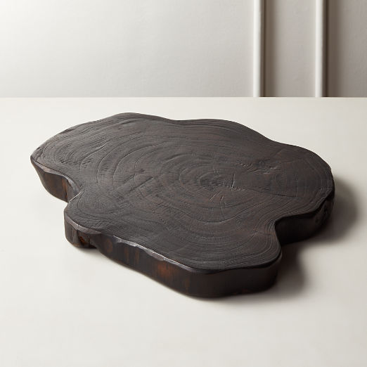 Blackened Teak Root Round Server