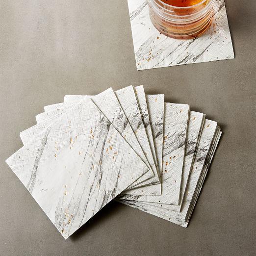 Blanc White Marble Paper Cocktail Napkins
