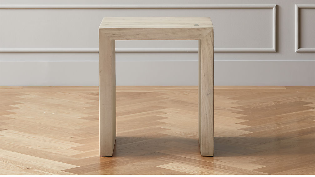 Blanche Bleached Acacia Side Table - Image 1 of 6