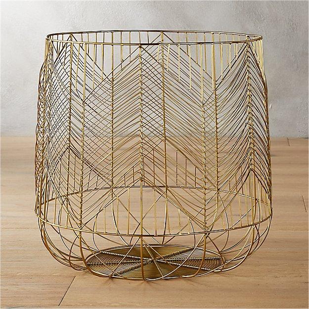 Blanche Large Gold Metal Basket - Image 1 of 7