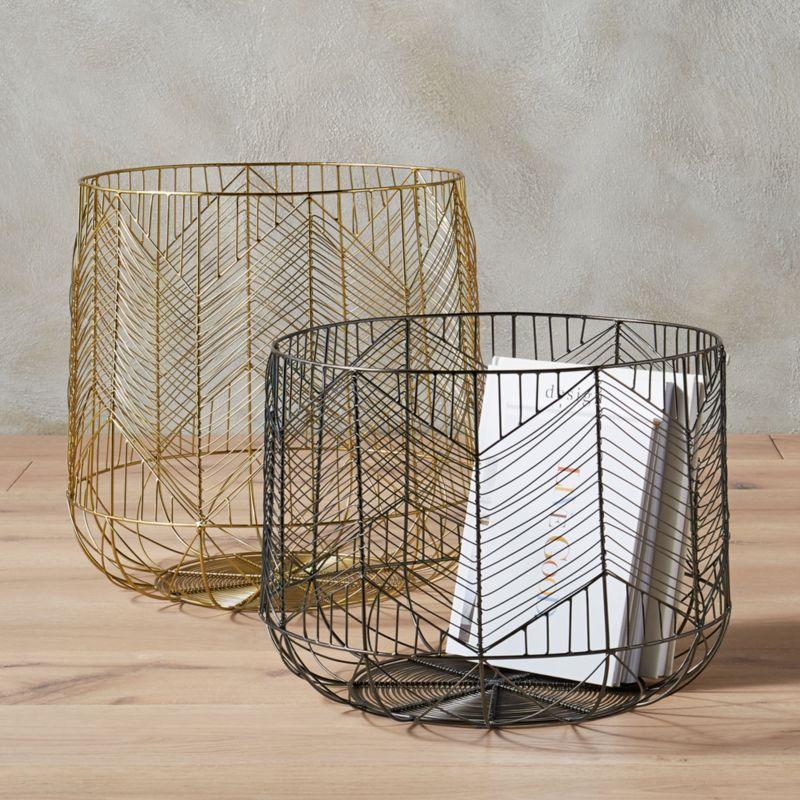 Attractive blanche metal wire baskets | CB2 LZ69