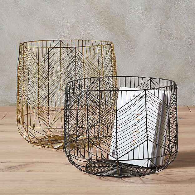 Blanche Metal Wire Baskets Cb2
