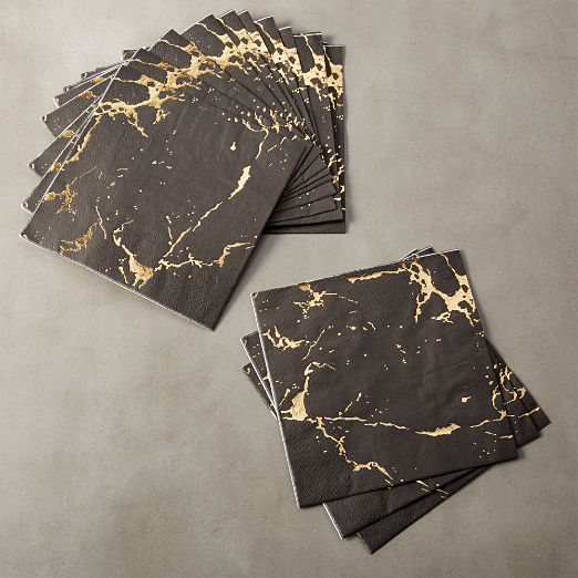 Black Marble Lunch Paper Napkins