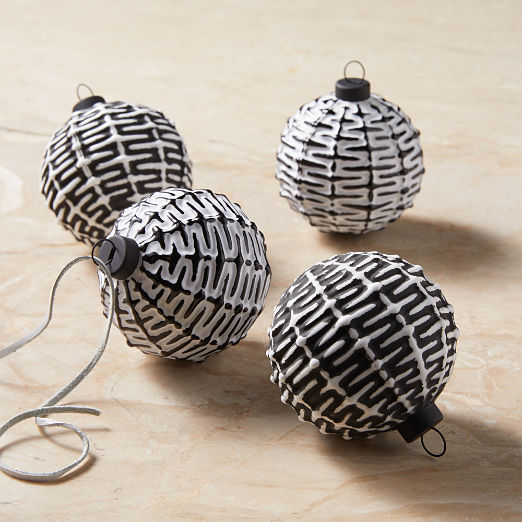 Black and White Ornaments Set of 4