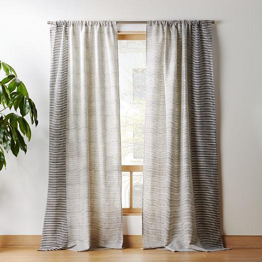 Block Printed Stripe Curtain Panel