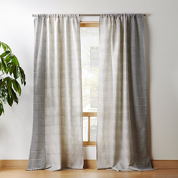 Construction Time Lined Curtains: Block Printed Stripe Curtain Panel