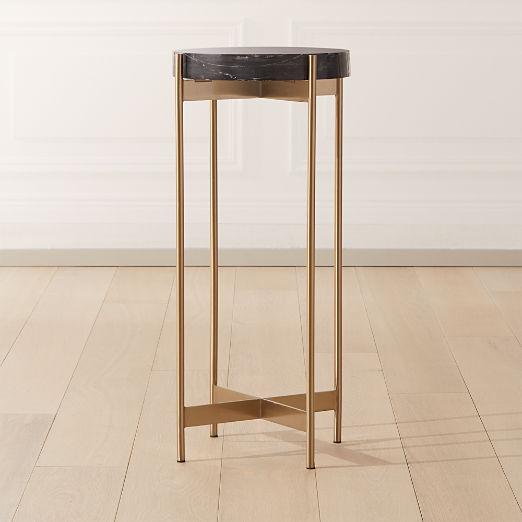 Block Black Marble Pedestal Table