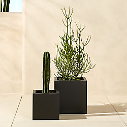 Outdoor planters cb2 blox galvanized charcoal planters workwithnaturefo