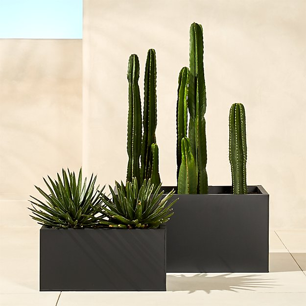 Blox Rectangular Galvanized Charcoal Planters - Image 1 of 10