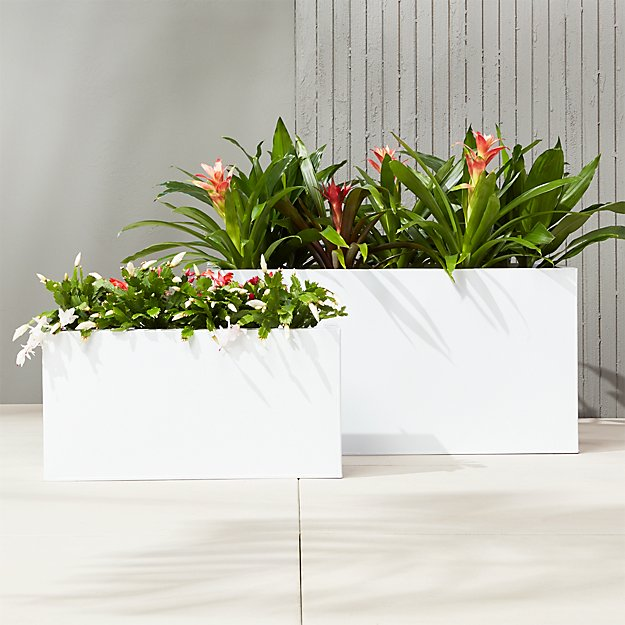 Blox White Large Rectangular Planters Cb2