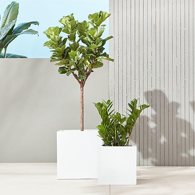 Blox Galvanized Hi-Gloss White Planters - Image 1 of 11