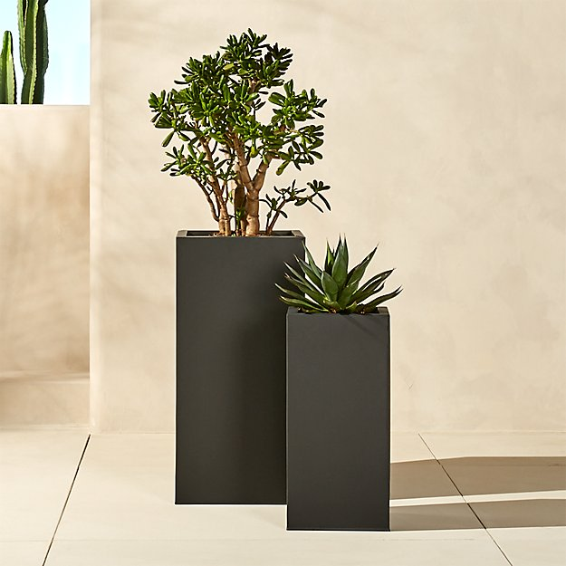 Blox Tall Galvanized Charcoal Planters - Image 1 of 11