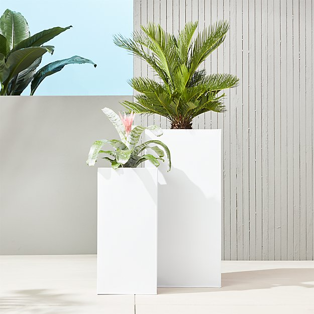 Blox Tall Galvanized Hi-Gloss White Planters - Image 1 of 12