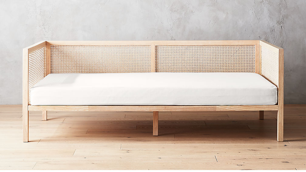 Day Bed.Boho Natural Daybed With Pearl White Mattress Cover