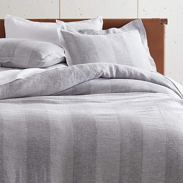 Bold Stripe Linen Duvet Cover Cb2, Pure Linen Bedding Canada