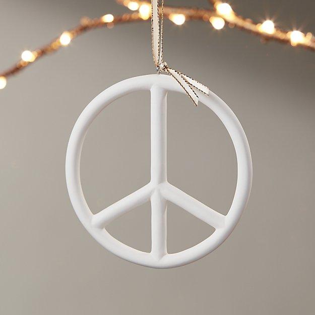 Bone China Peace Sign Ornament - Image 1 of 8
