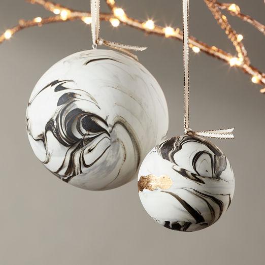 Bone China Swirled Marble Ornaments