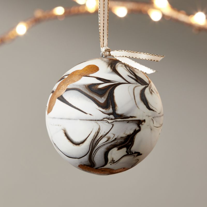 bone china swirled marble ornament with gold - Gold Christmas Ornaments