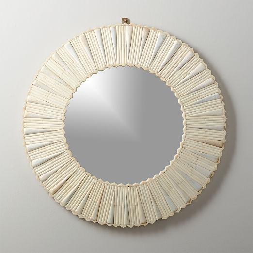 Bone Inlay Medium Round Mirror