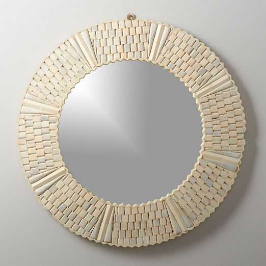 Bone Inlay Large Round Mirror