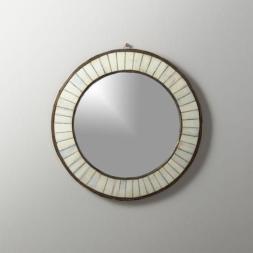 Bone Inlay Small Round Mirror