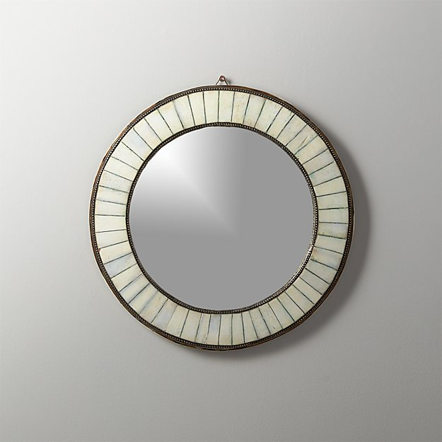 Bone Inlay Small Round Mirror - Image 1 of 5