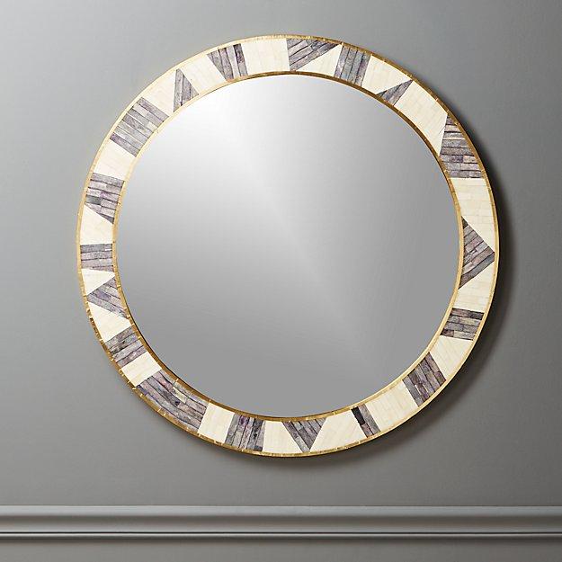 "Grace Bone Inlay Round Wall Mirror 32"" - Image 1 of 12"