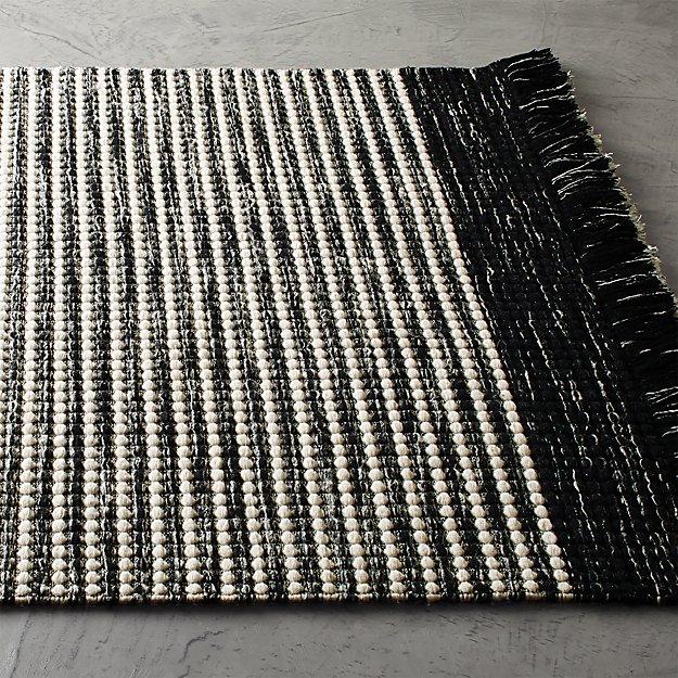 Boucle Black and White Fringe Rug - Image 1 of 11