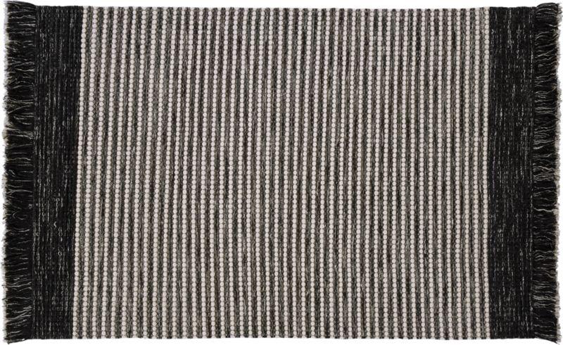 Boucle Black And White Fringe Rug 6 X9
