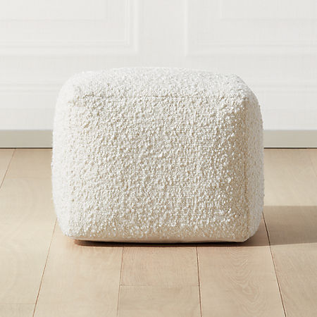 Boucle Ivory Pouf Reviews Cb2