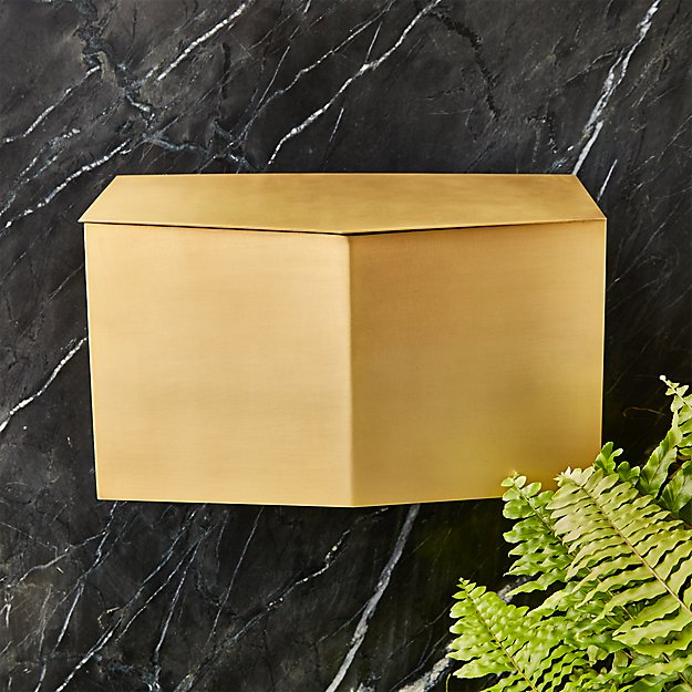 Bow Angled Brass Wall-Mounted Mailbox - Image 1 of 4