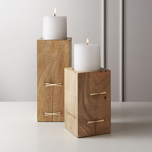Bowtie Wood Pillar Candle Holders