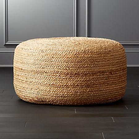 Strange Braided Jute Large Pouf Customarchery Wood Chair Design Ideas Customarcherynet