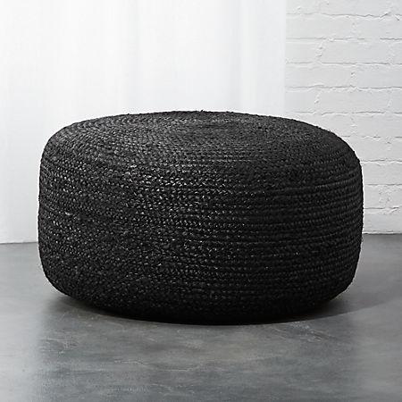 Marvelous Large Black Braided Jute Pouf Customarchery Wood Chair Design Ideas Customarcherynet